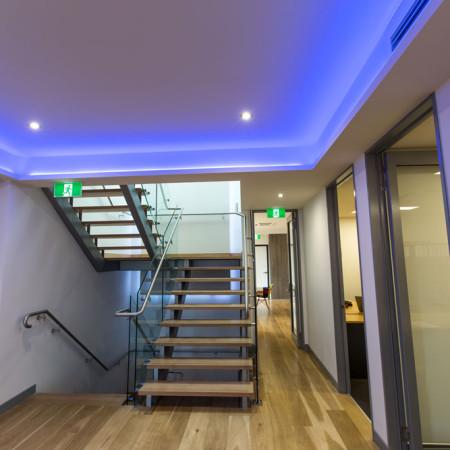 Office LED blue strip lighting